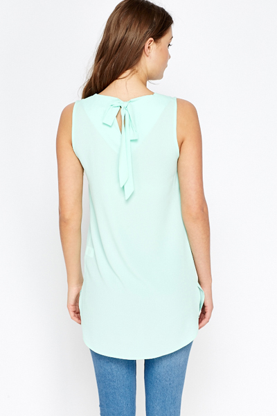 Mint Bow Back Shell Top