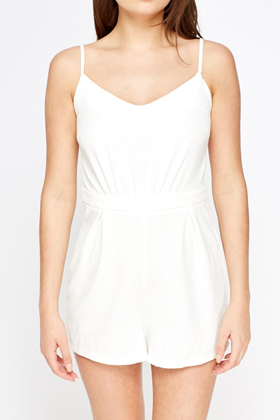 Off White Textured Playsuit