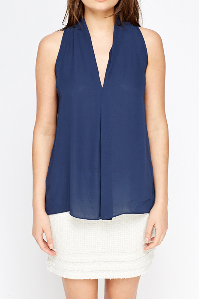 Sheer Navy Casual Blouse