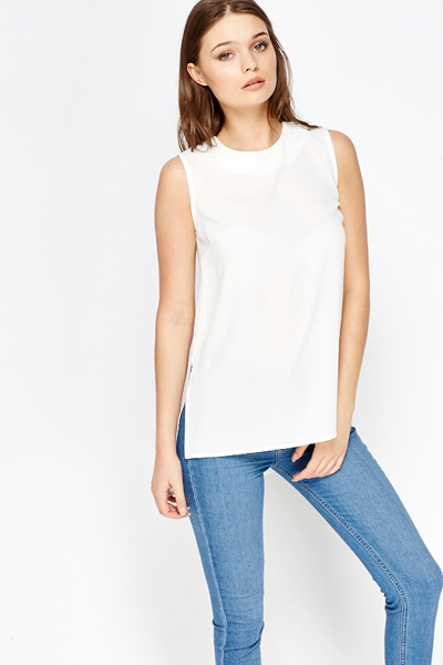 5e857d304b72ee White Textured Dip Hem Top - Just £5