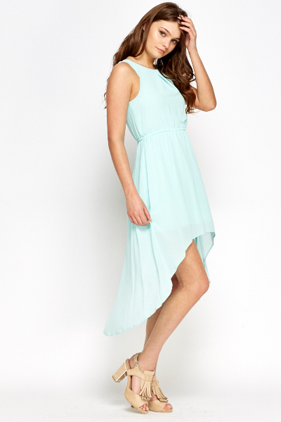Asymmetric Sheer Overlay Dress
