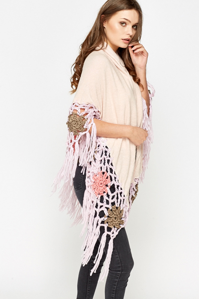 Flower Crochet Hem Open Poncho
