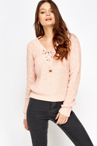 Lace Neck Speckled Jumper