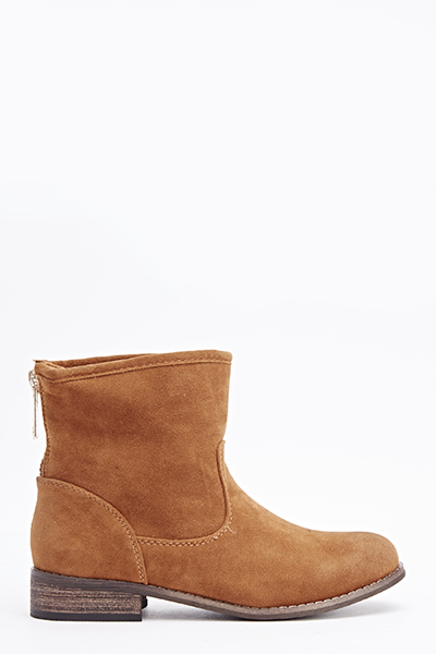 Camel Zip Back Ankle Boots