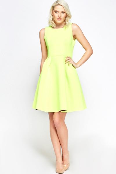 92055dd65a Neon Yellow Scuba Skater Dress - Just £5