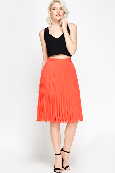 Red Pleated Midi Skirt | Jill Dress