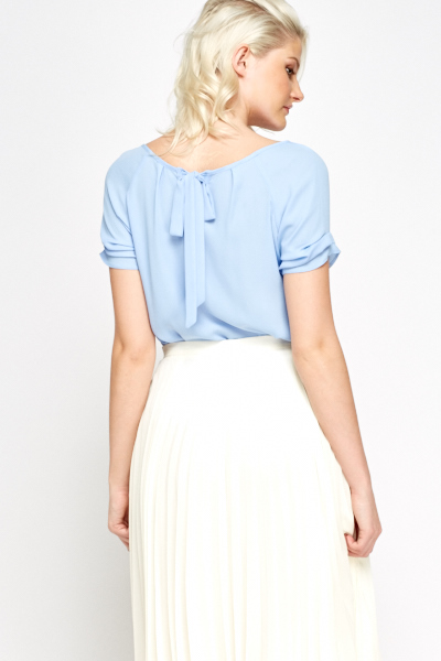 Tie Up Back Sky Blue Blouse