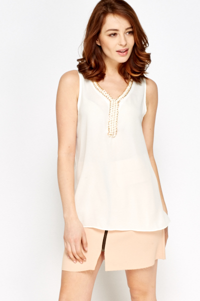 Encrusted V-Neck Sleeveless Top