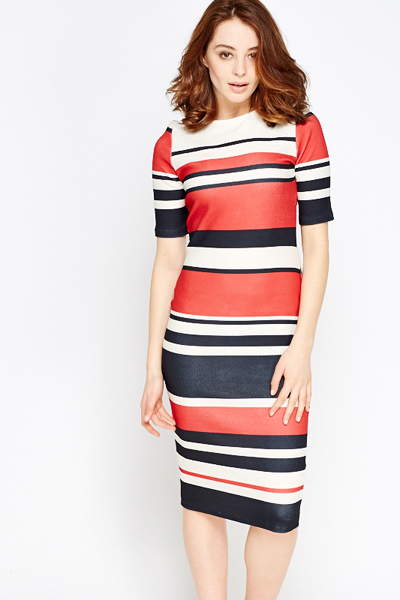 137297d7592 Red Multi Stripe Midi Dress - Just £5