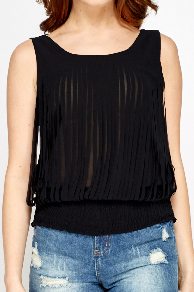 Sheer Cut Out Overlay Top