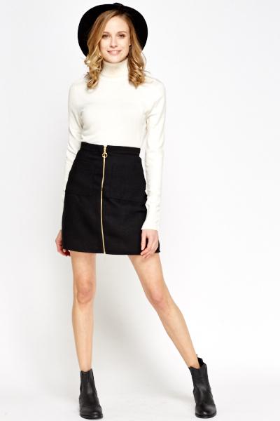 ccbf07c4b37 Black Zip A-Line Skirt - Just £5