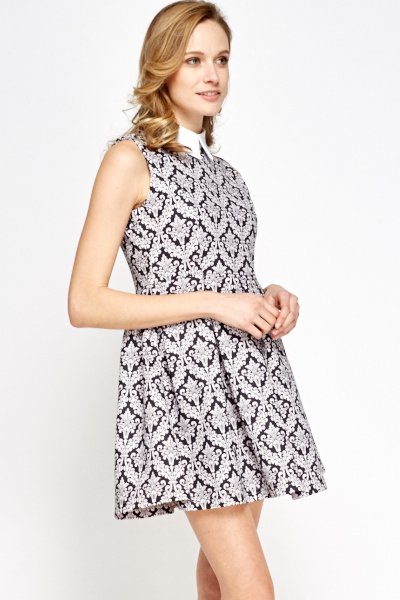 Collared Ornate Mini Dress