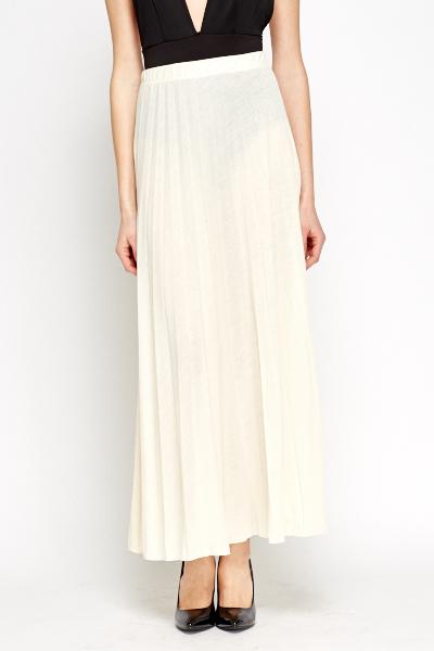 c8a6e3554 Cream Pleated Maxi Skirt - Just £5