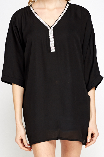 Encrusted Neck Batwing Top