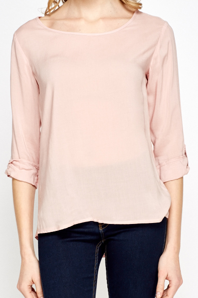 Light Pink Dip Hem Blouse
