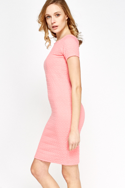 Pink Textured Scoop Neck Dress