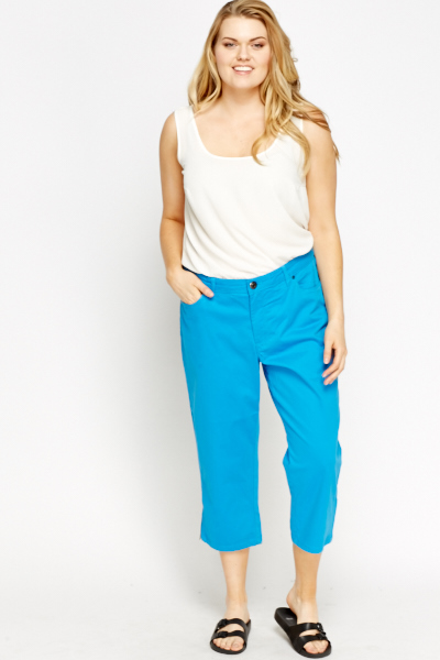 Cropped Cotton Blend Trousers