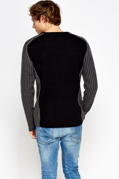 Ribbed Collar Panel Jumper