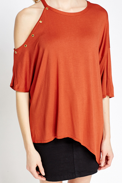 Asymmetric Cold Shoulder Oversize Top