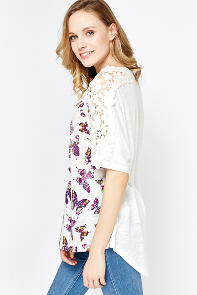 Butterfly Print Oversize Top