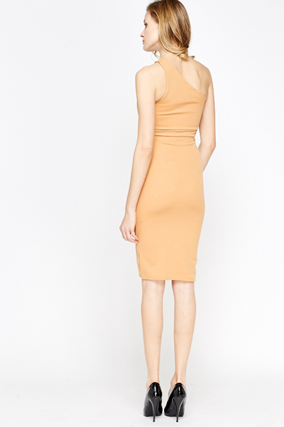 Camel One Shoulder Midi Dress