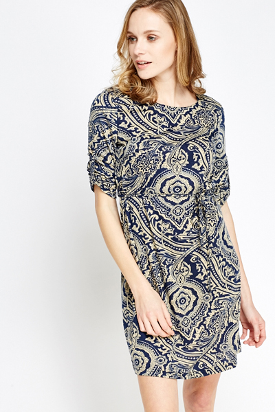 Navy Contrast Print Tunic Dress