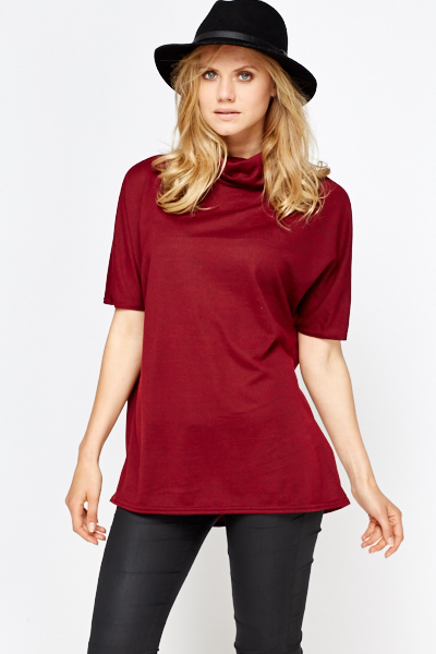 Cowl Neck Burgundy Top