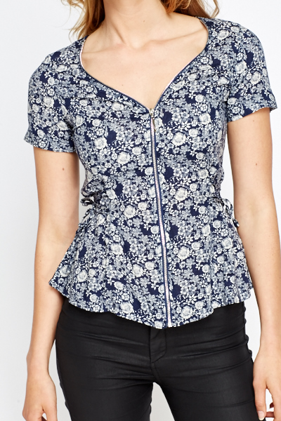 Floral Zip Up Top