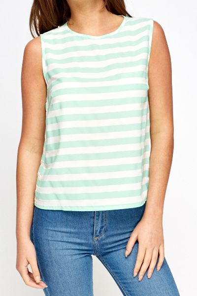 Mint Striped Shell Top