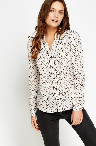 456980a878493 V-Neck Printed Cream Blouse - Just £5