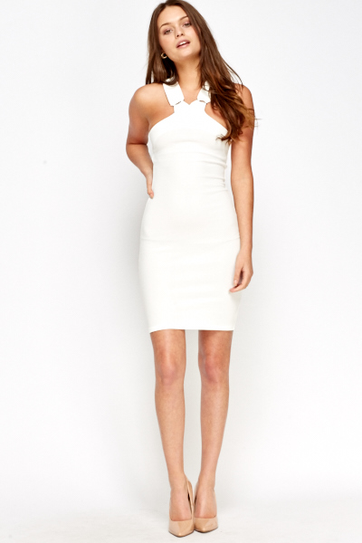 White Bodycon Sleeveless Dress