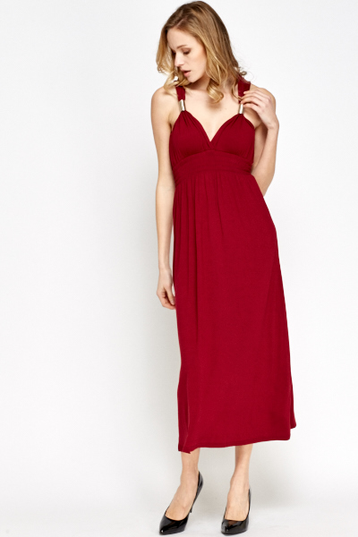 Metallic Strap Wine Midi Dress