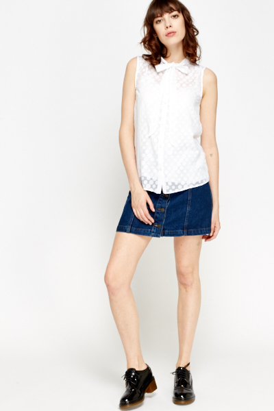 Sleeveless White Polka Dot Blouse