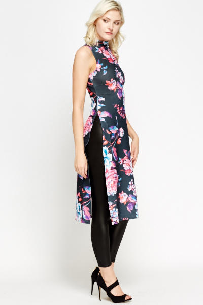High Neck Floral Split Side Long Top
