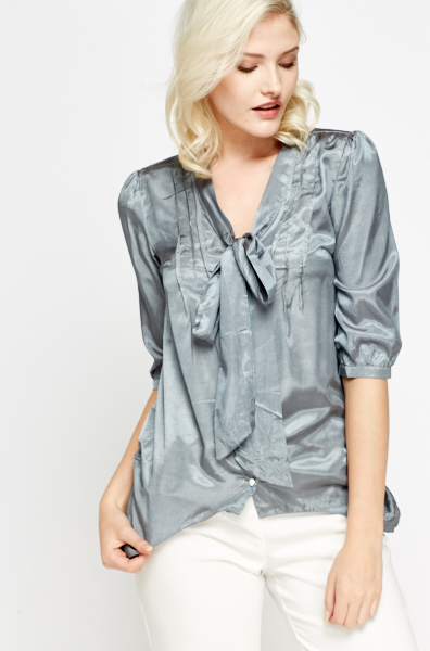 Silky Tie Up Blouse