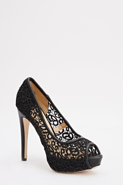 80b8bb57d24b7 Black Lace Peep Toe Heels