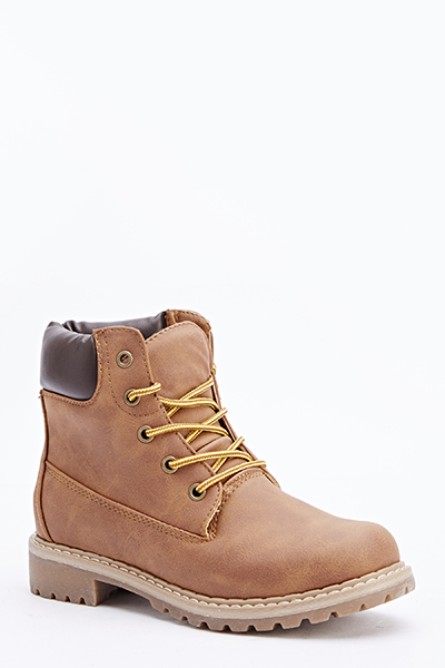Contrast Lace Up Boots