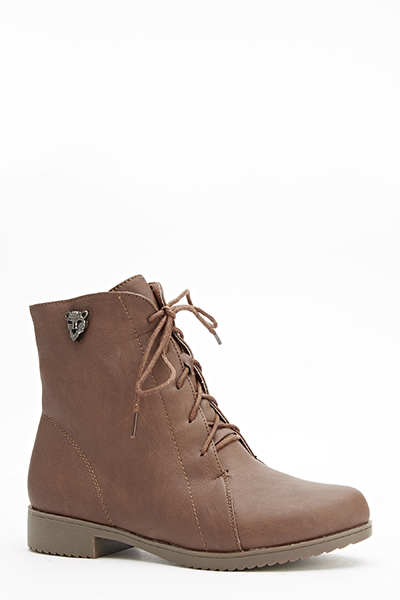 Detailed Side Lace Up Boots - Just $6