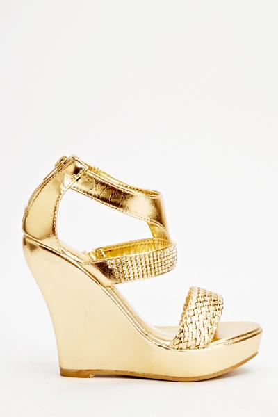 Diamante Trim Wedge Sandals - Just $6