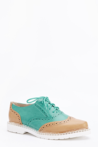 Lace Up Colour Block Brogues