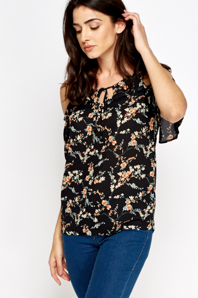 Black Floral Cold Sleeve Top
