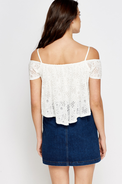Crochet Overlay White Top