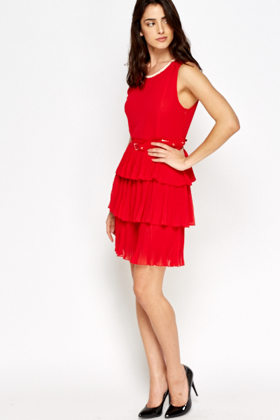 Encrusted Belted Ruffle Dress