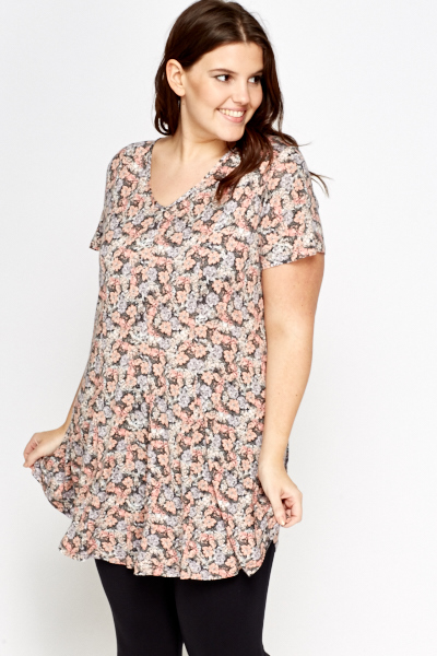 Floral Peach Swing Tunic