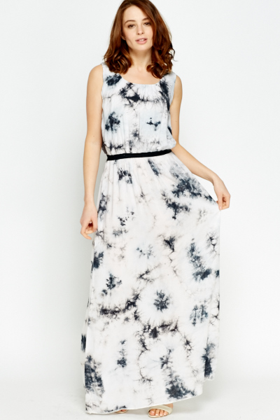 Lace Back Tie Dye Maxi Dress