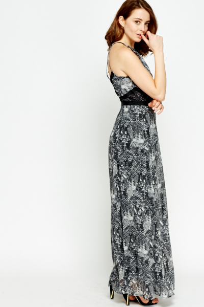 Strappy Back Grey Maxi Dress