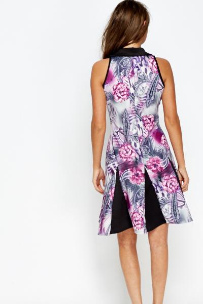 Collared Contrast Printed Dress