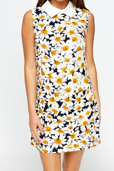 White Multi Daisy Print Dress