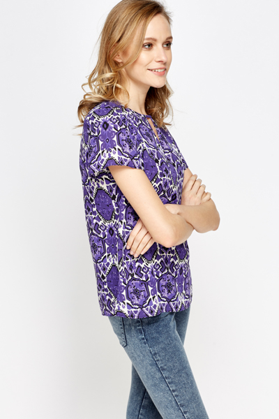 Purple Multi Print Top