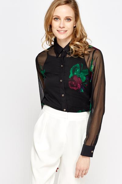 0b098e28 Rose Print Sheer Black Blouse - Just £5